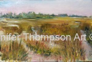 "Salt Marsh Quick plein air  oil painting4"" x 6"""
