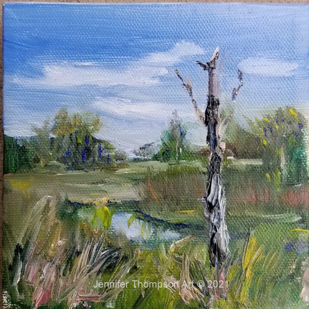 "South Carolina Marsh 5"" x 5"" plein air oil"