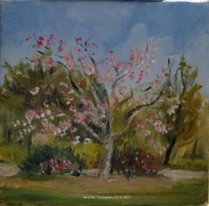 "quick Plein Air Cherry Tree 5"" x 5"""